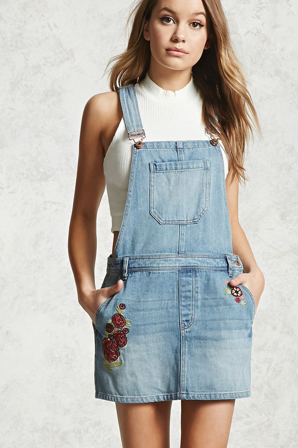 f32da673f8 FOREVER 21+ Floral Embroidery Overall Dress | Women's Fashion ...