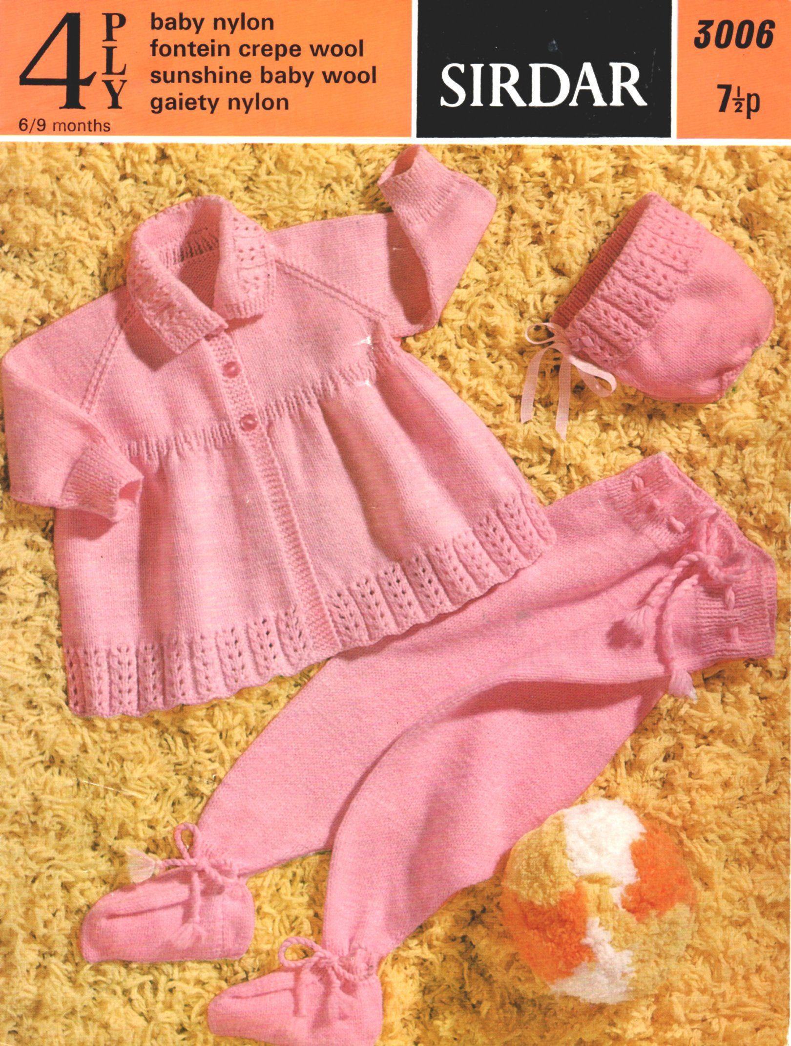59a04a71c Vintage Sirdar Knitting Pattern to make Girl s Pram Set in 4 Ply ...