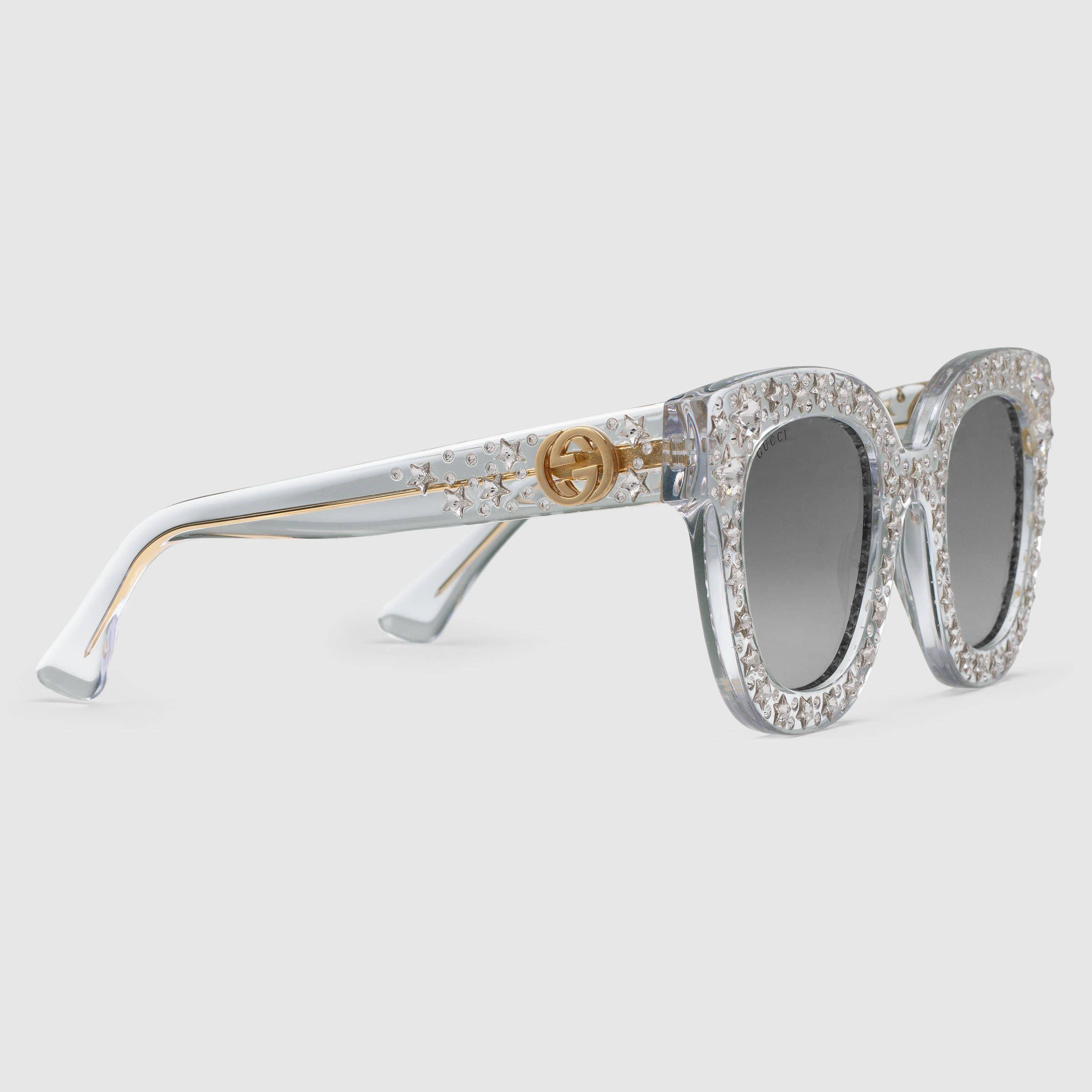 73f27cb492eb5 Gucci Lunettes de soleil œil-de-chat en acétate avec étoiles Detail 2