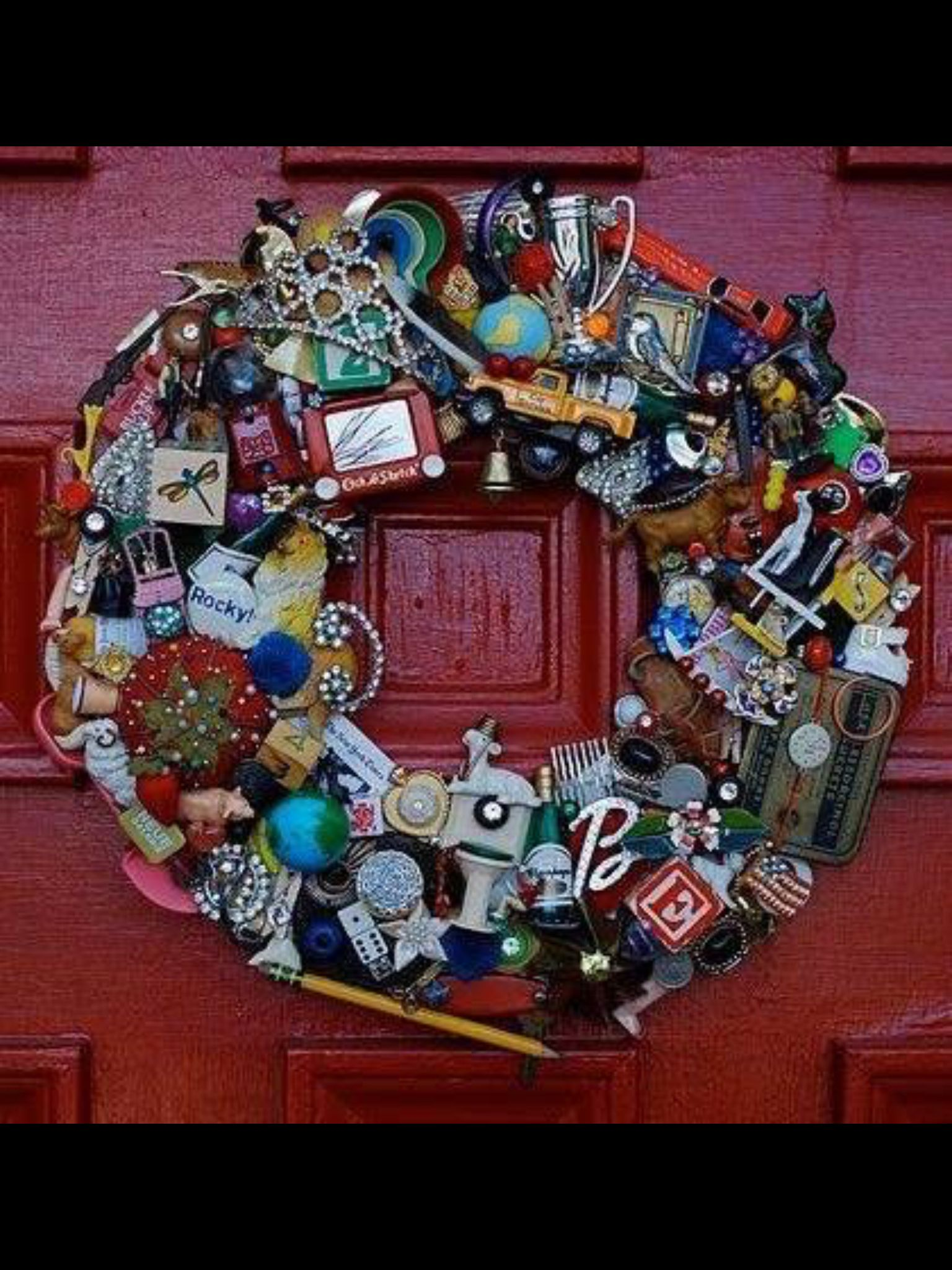 Wreath Made Of Old Toys And Items From A Junk Drawer Very