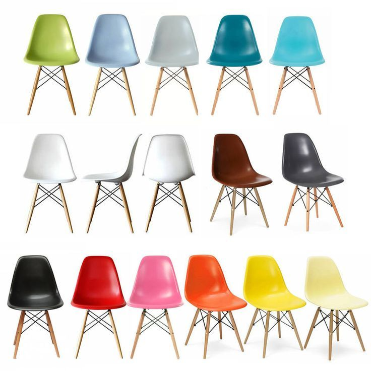 Classic Eames Style Chair Retro Modern Atomic Age Eiffel DSW Coloured Side  Lounge Dining Chair Wooden