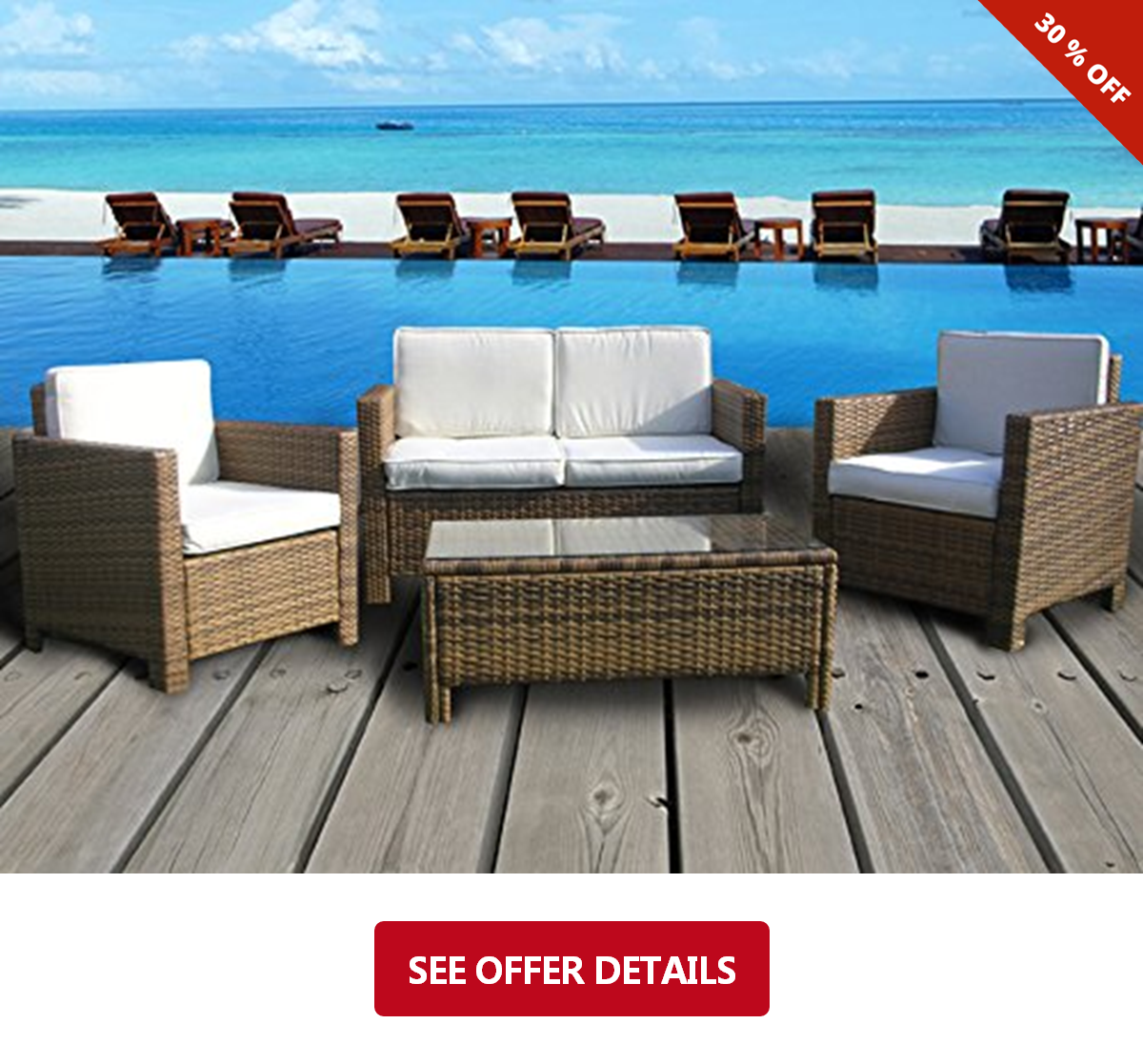 283 The Eden Rock Collection 4 Pc Outdoor Rattan Wicker