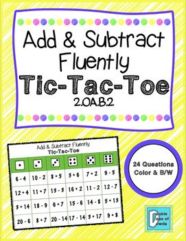 Add & Subtract Fluently Tic-Tac-Toe to practice addition and subtraction. Problems get harder as they work down the board.