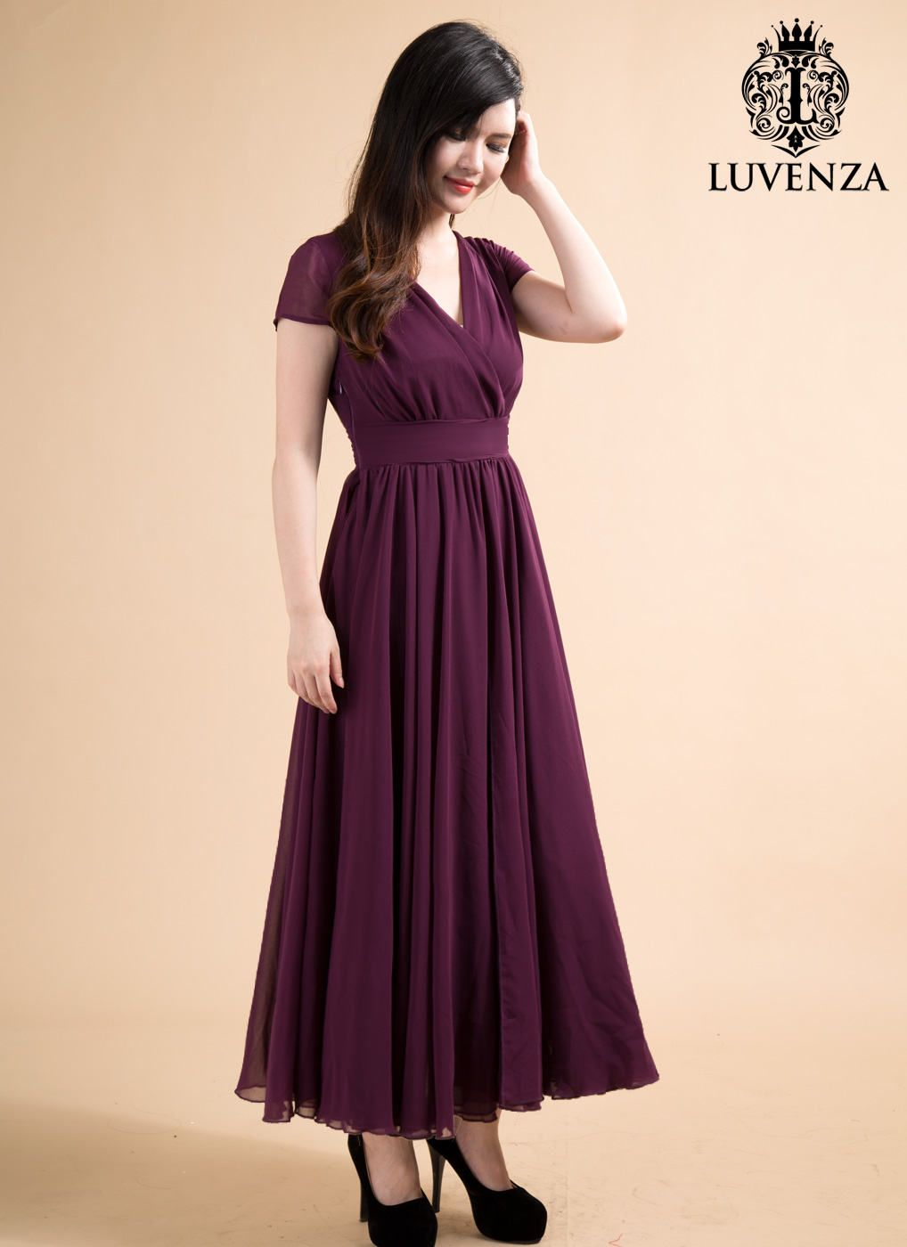 Purple maxi dress with v neck and cap sleevespurple evening dress