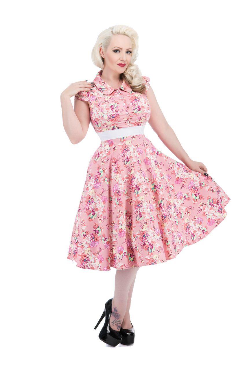 Pink Charlotte Floral Cut Out Collar Tea Dress