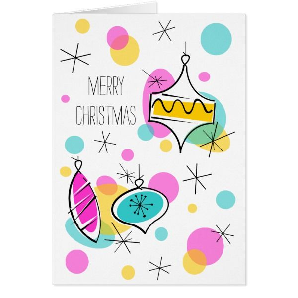 Retro Tree Baubles Christmas vertical Card #cards #christmascard #holiday
