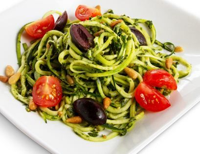 "Raw Pesto ""Pasta."" Only 6g net carbs!"