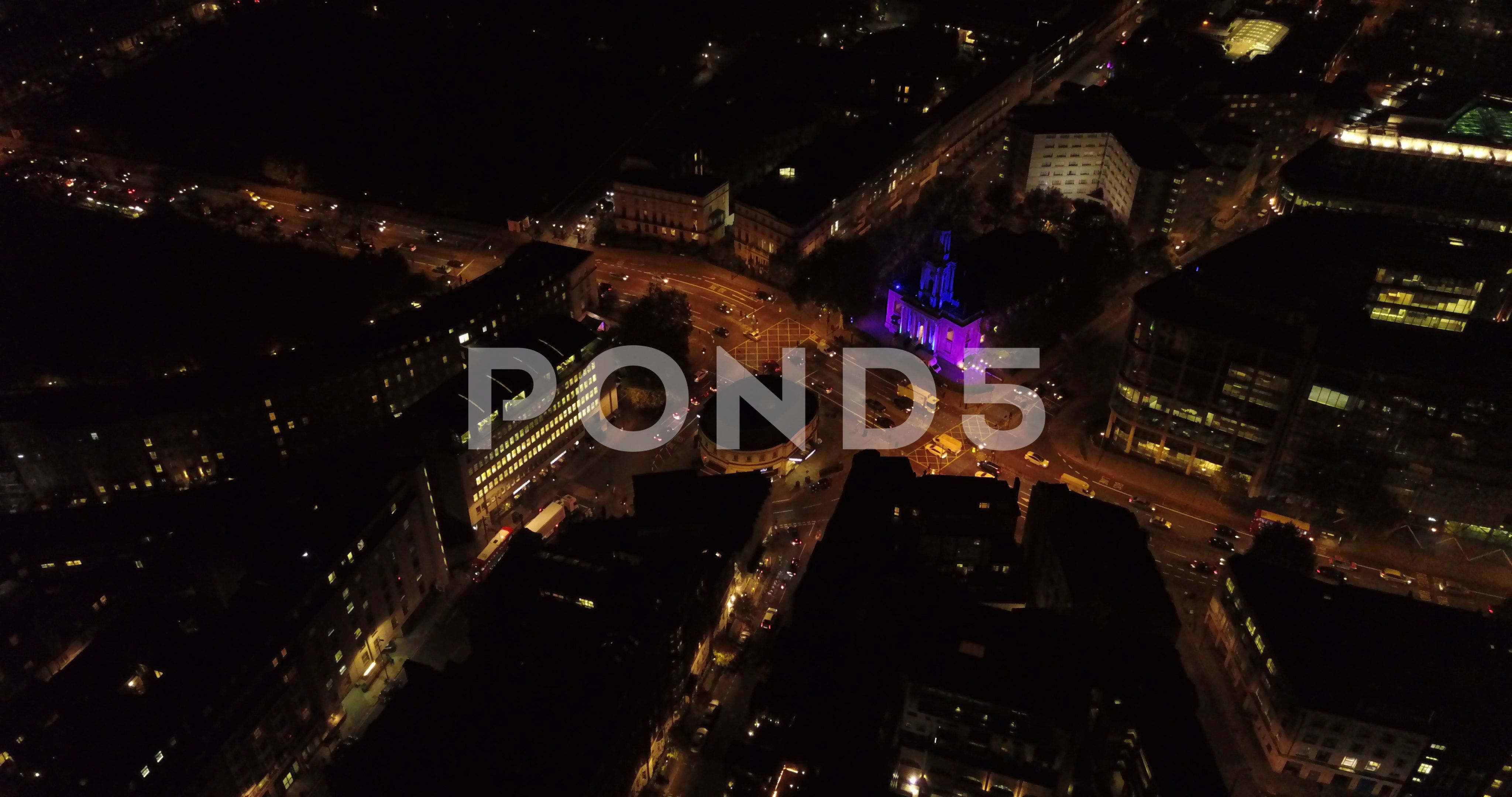 Aerial drone flight above london uk at night stock