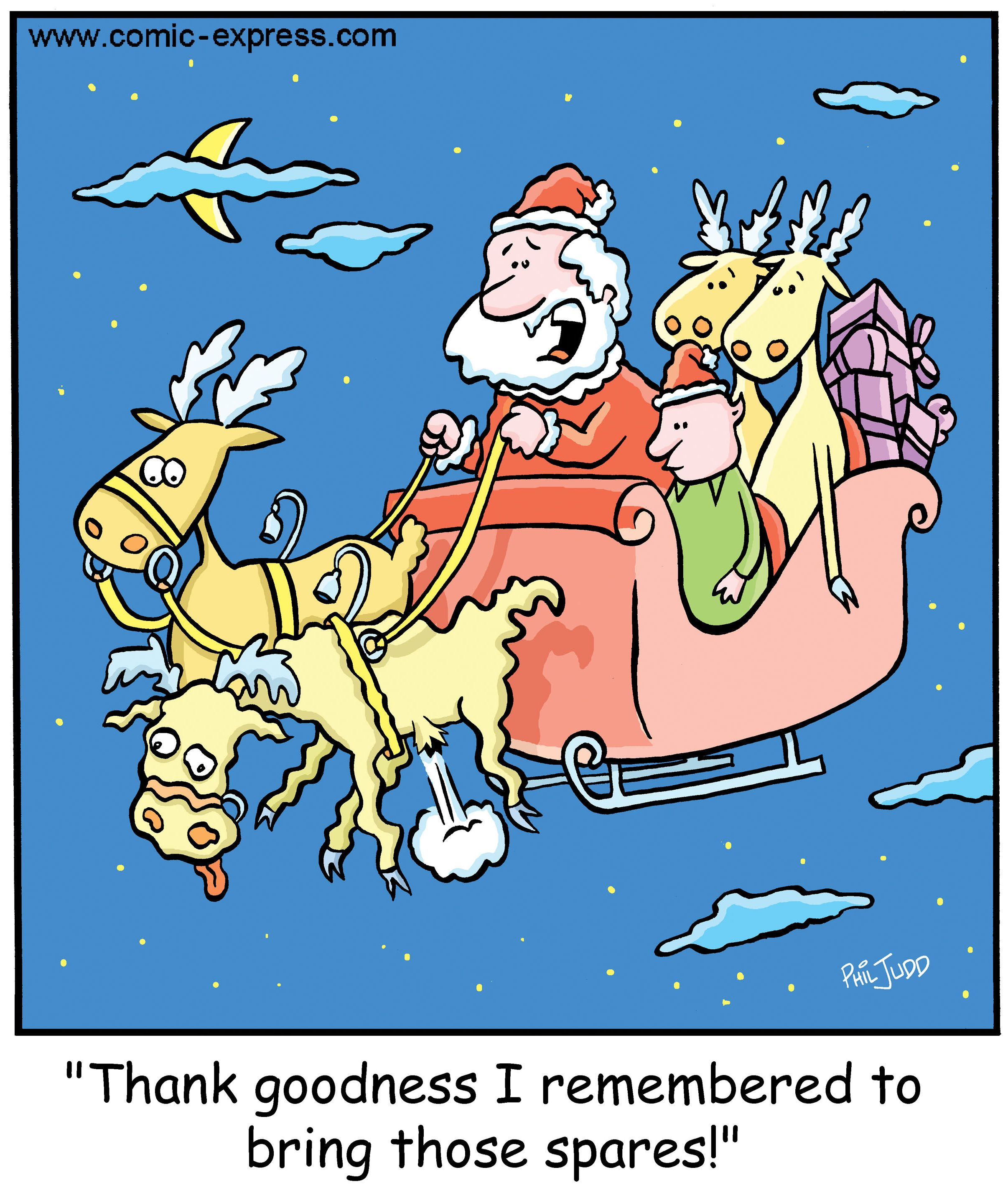Funny Christmas Cartoon About Santa And His Reindeer. Only Question Is How  Did He Get Nice Ideas