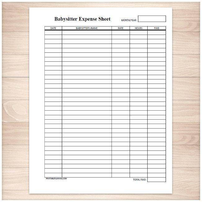 Printable Babysitter Expense Sheet