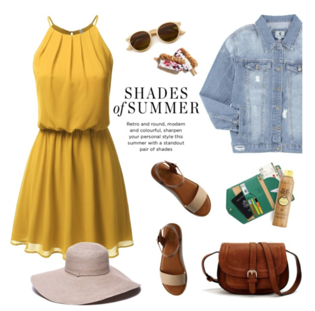 Denim jacket with sundress and hat, sandals, bag #travel #outfits