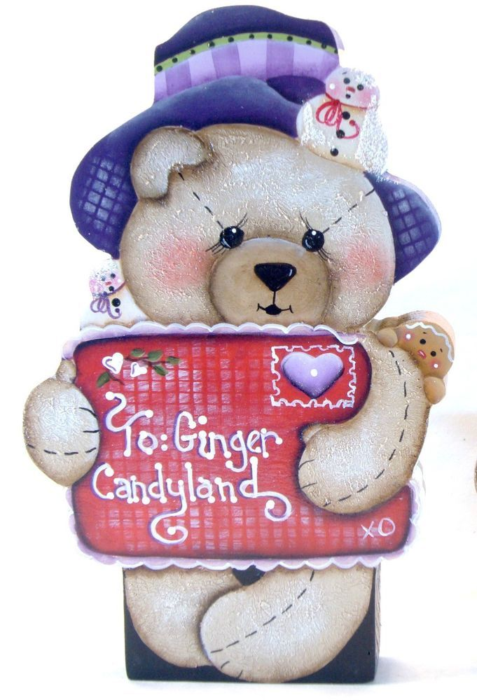 Hp Teddy Bear Shelf Sitter Winter Greetings Letter To Friend Decor