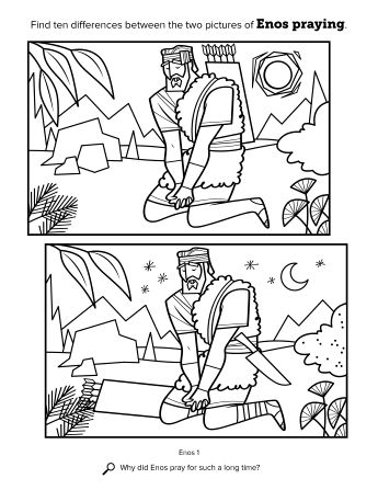 Two Black And White Line Drawings Showing Enos Praying With