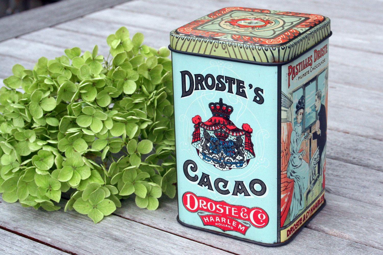 Dutch vintage antique chocolate cacao tin box storage