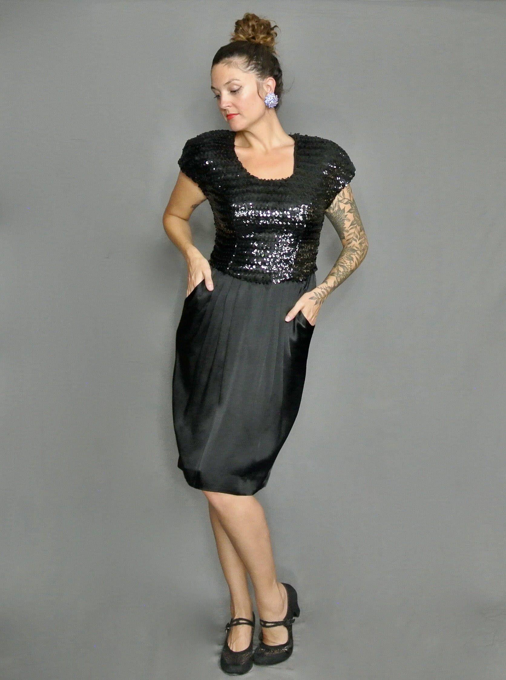 bf69993d Vintage 80s Little Black Sequence Dress (Taurus Nites) by DeltaRoseBoutique  on Etsy