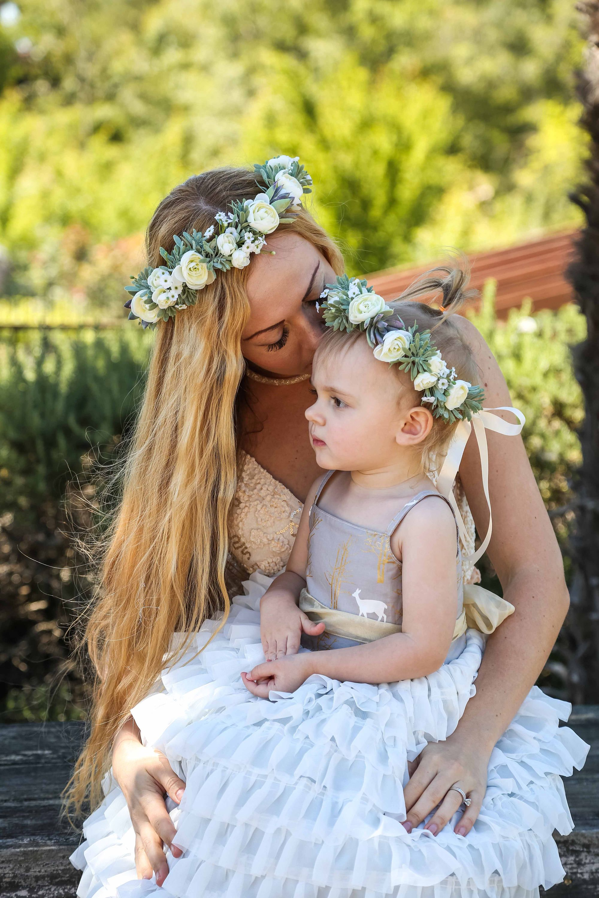 Mommy And Me Succulent White Flower Crown Set Bohemian Etsy White Flower Crown Bohemian Headpiece Flower Crown Wedding