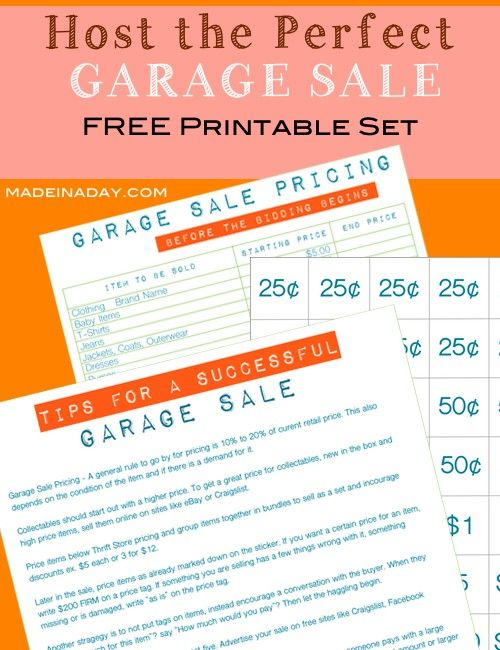 How To Host The Perfect Garage Sale Printable Set House