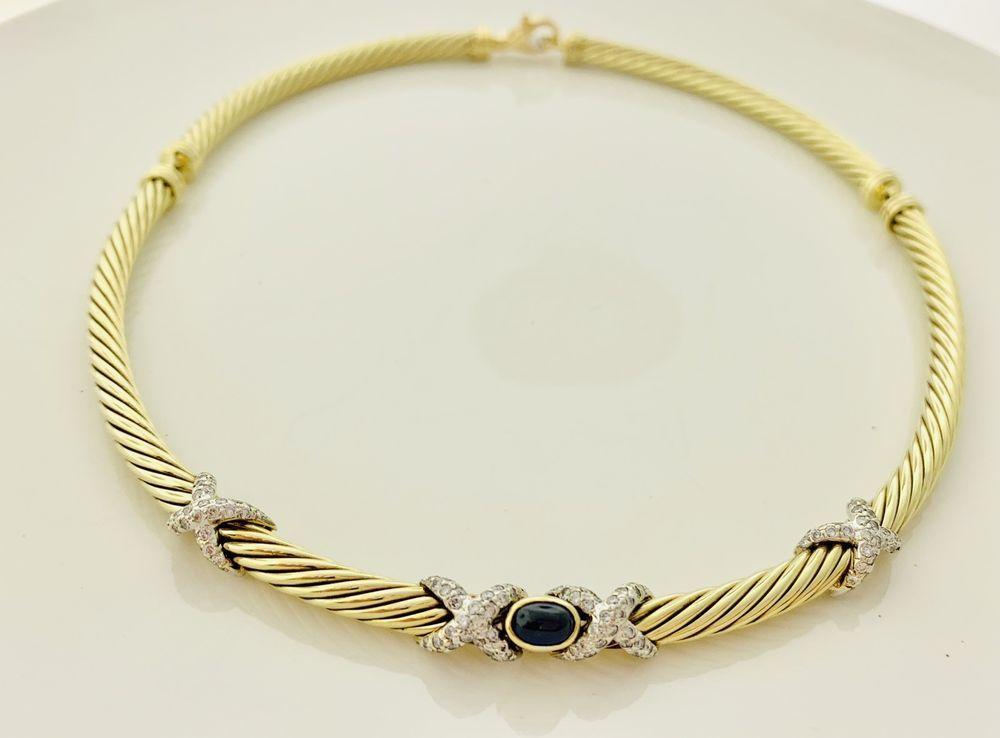 d06362b67ab51 David Yurman 14k Solid Gold X Diamond Blue Sapphire 5mm,15 inch ...