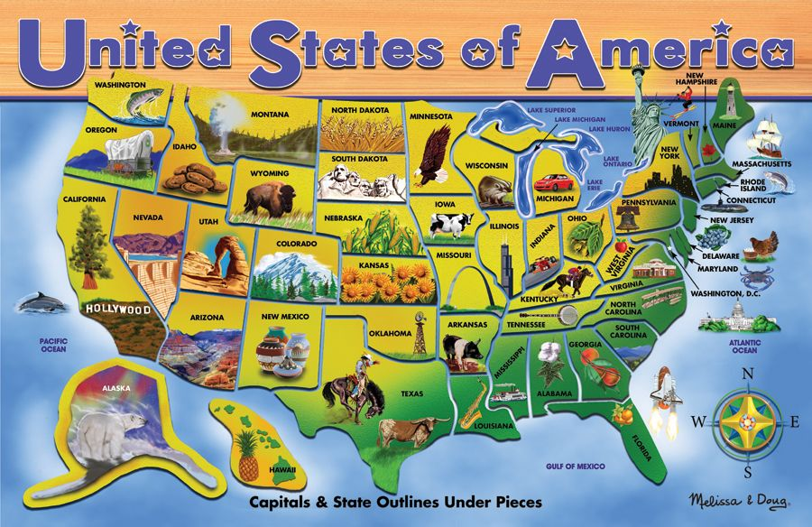 Visual Map Of Us Great visual U.S. map. | Map puzzle, Usa map, Usa puzzle