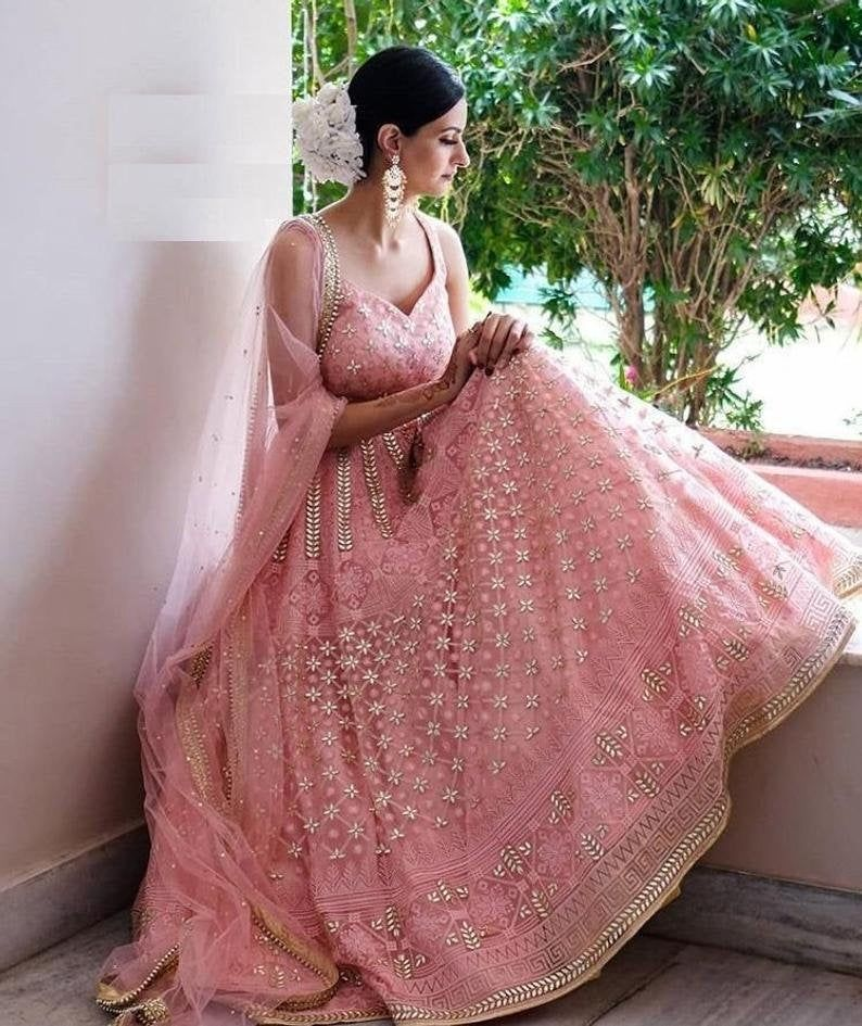 Designer Pink Georgette Lehenga Choli Heavy Embroi