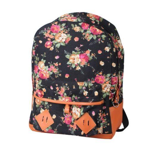 6bcab1315d04 Women Girl Vintage Cute Flower Floral Bag Canvas Schoolbag Bookbag ...