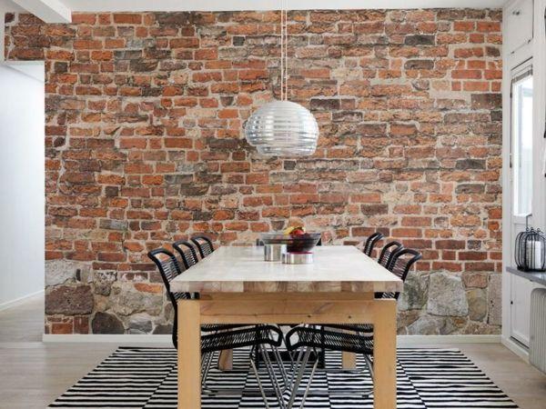 backstein tapete schicke rustikale akzente in der. Black Bedroom Furniture Sets. Home Design Ideas