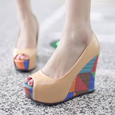 02aa1cdeea7 Toe · Lovely Peep Toe Stylish Wedges