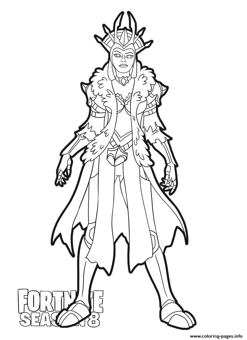 Print Ice Queen From Fortnite Season 8 Coloring Pages Coloring Pages Ice Queen Christmas Coloring Pages