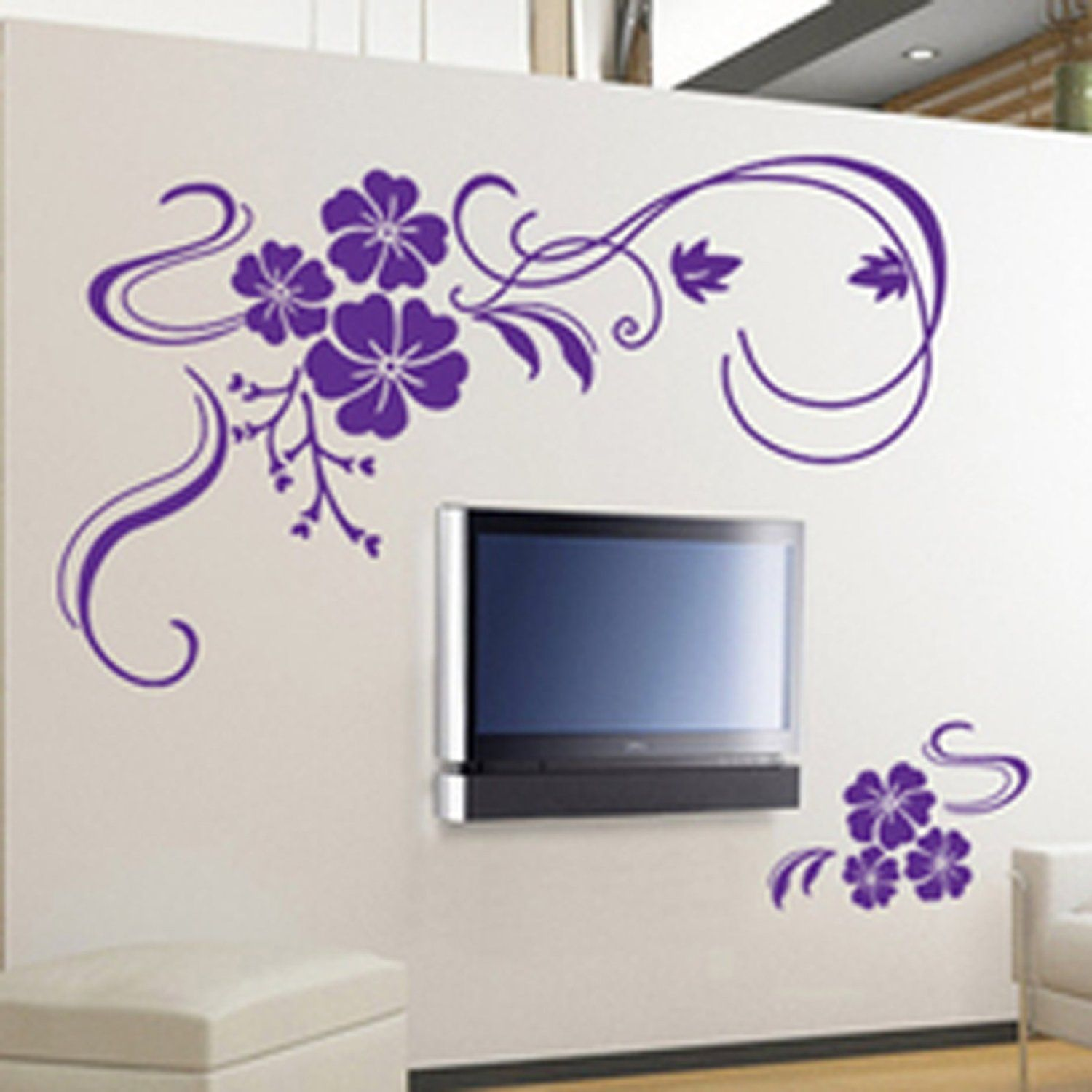 a984d52987 Amazon.com - Butterfly Vine Flower Wall Art Stickers, Decals - Purple - Wall  Decor Stickers