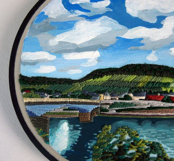 Broderie à La Main + Peinture, Art Textile, Mur Suspendu