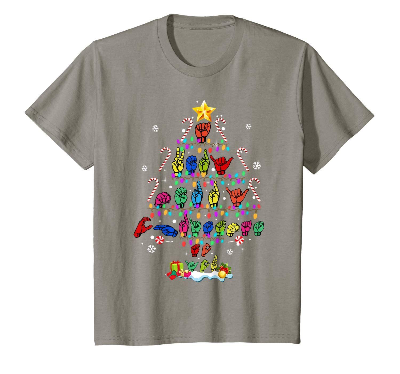 Funny Asl Christmas Tree Sign Language Xmas Deaf Pride Gift T Shirt Sign Language Funny Xmas Gifts Presents For Kids