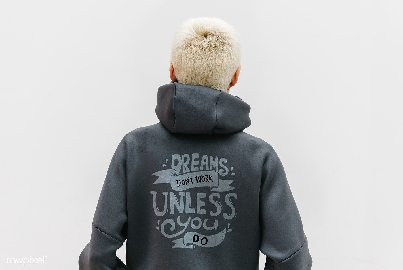 Download Download Premium Psd Of Cool Girl Wearin A Gray Motivational Hoodie 1215183 Motivational Hoodies Cool Girl Hoodie Mockup