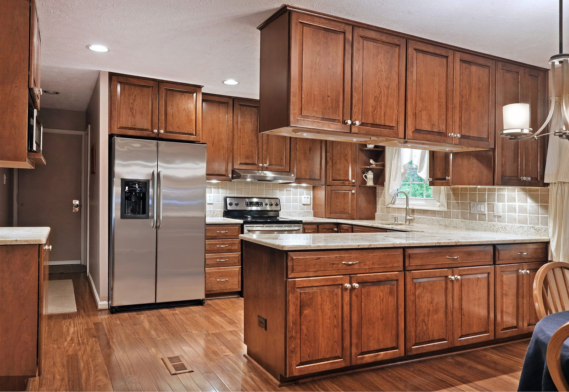 Traditional Chestnut Cherry Kitchen In Reston Va K S Renewal Systems Llc Bold Kitchen Cherry Kitchen U Shaped Kitchen
