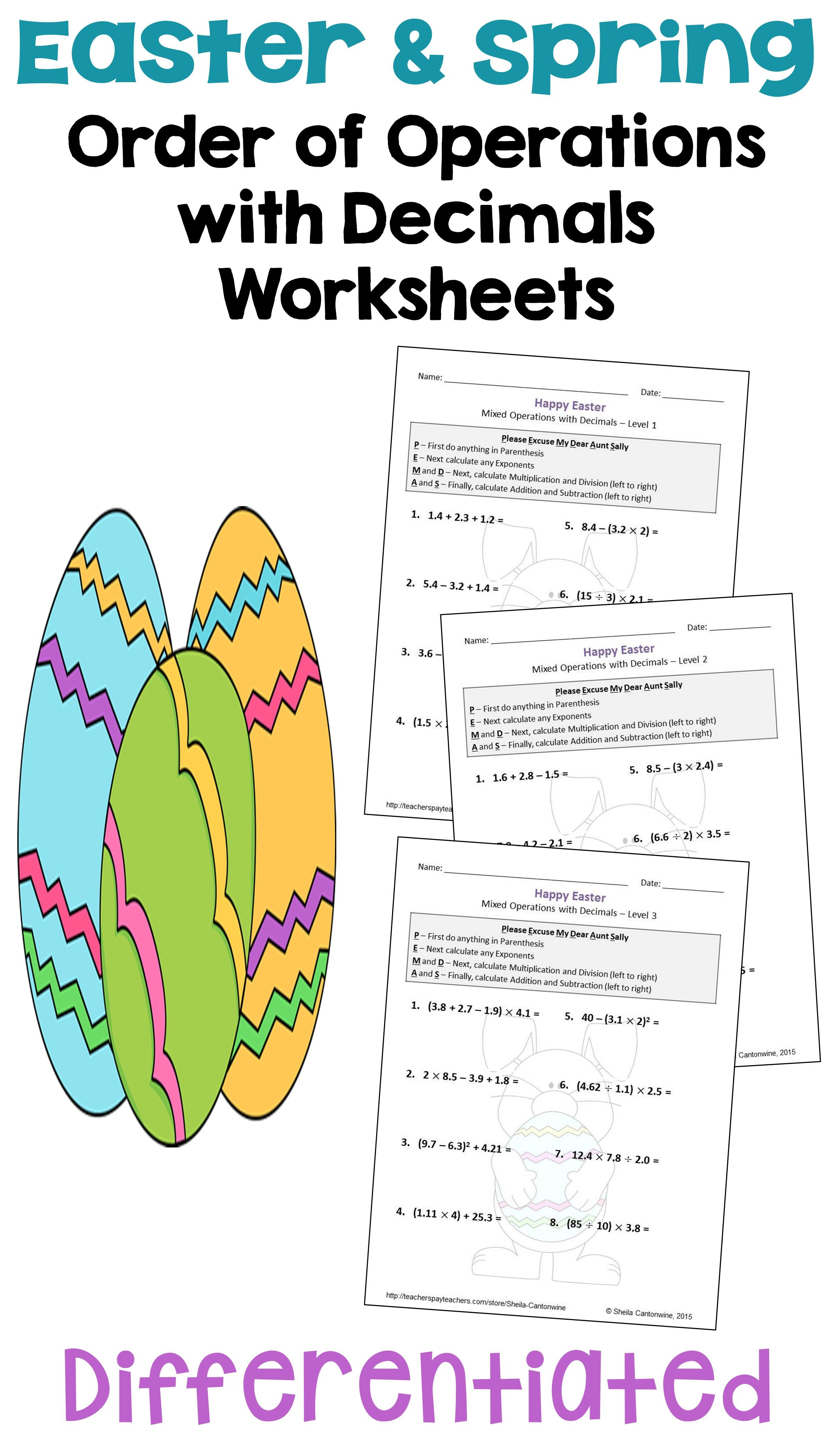 Easter Math Order Of Operations With Decimals Worksheets