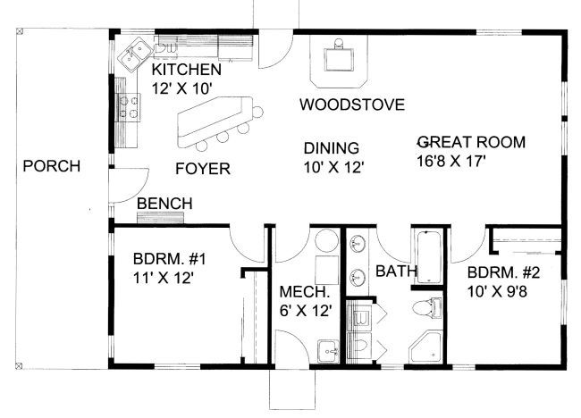 1200 Square Foot One Story Floor Plan | 1200 Square Feet, 2 Bedrooms, 1