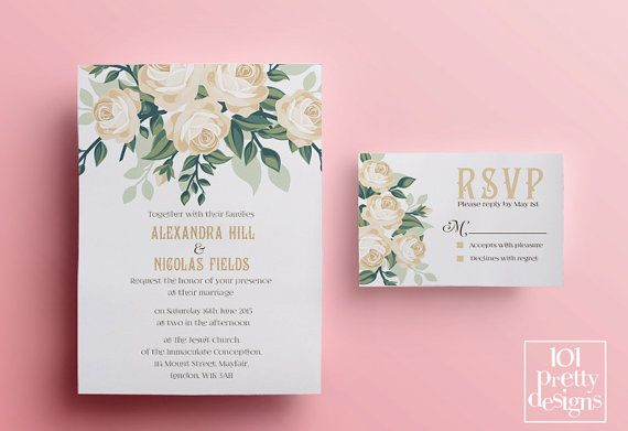 Floral wedding invitation template printable by 101prettydesigns floral wedding invitation template printable by 101prettydesigns jamberry consultant ideas pinterest invitation templates floral wedding and rose stopboris Images
