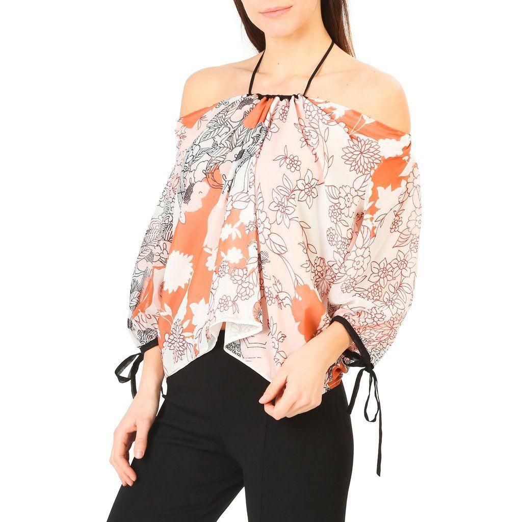 cf811fe21f5b5c Annarita Pink Wide Neck 3 4 Sleeve Floral Print Shirt | Ladies Going ...