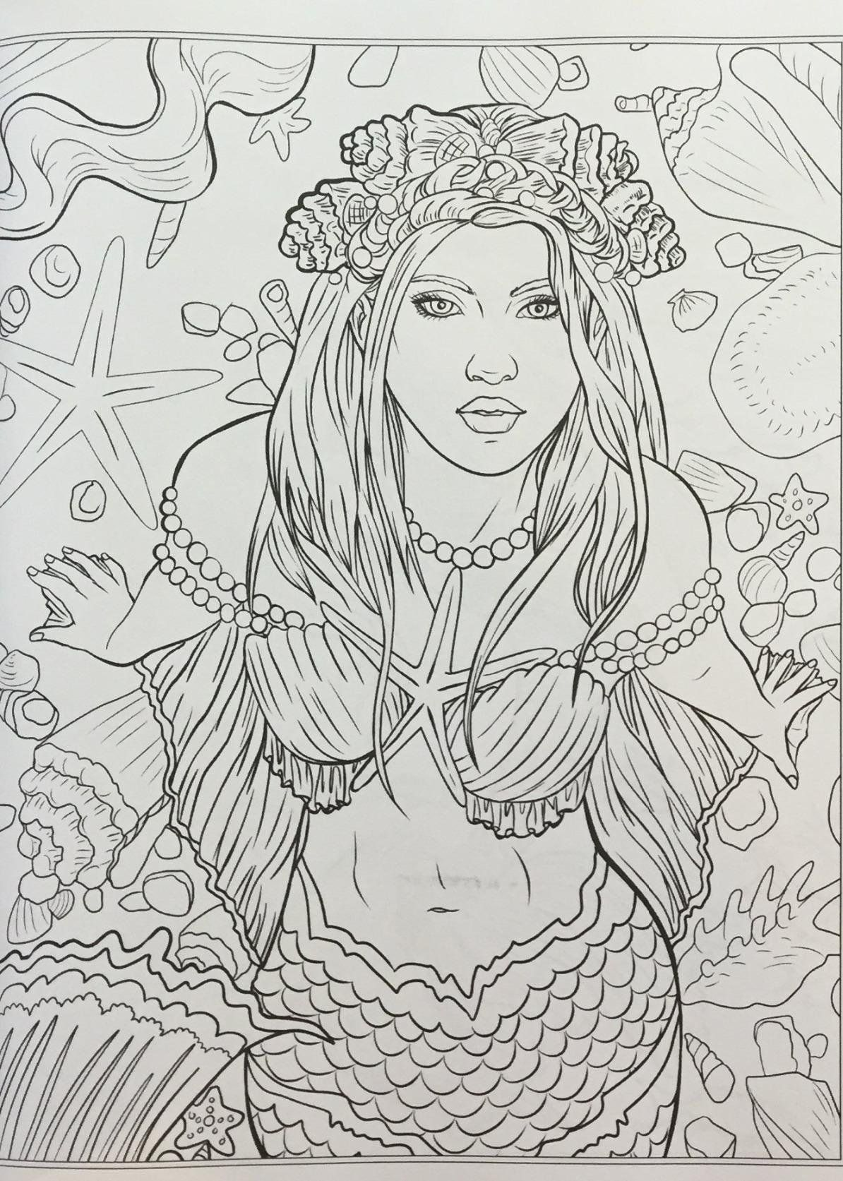 Mythical Mermaids - Fantasy Adult Coloring Book (Fantasy Coloring by ...