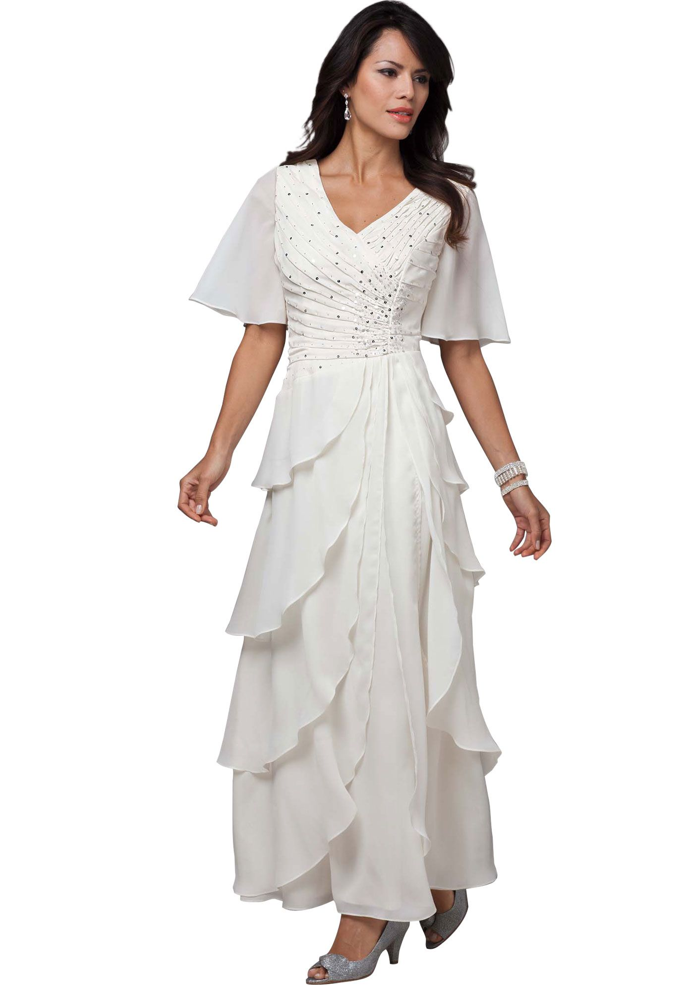 Beaded bodice diagonal tiered gown also comes in black really like