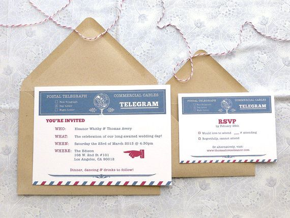 vintage-with-a-twist wedding invitations featuring a telegram / airmail theme in deep reds & blues