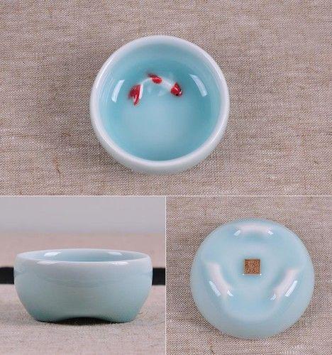 1pc Chinese Longquan Celadon Porcelain Pale Blue Color Tea Cup Red Carp Pattern | eBay