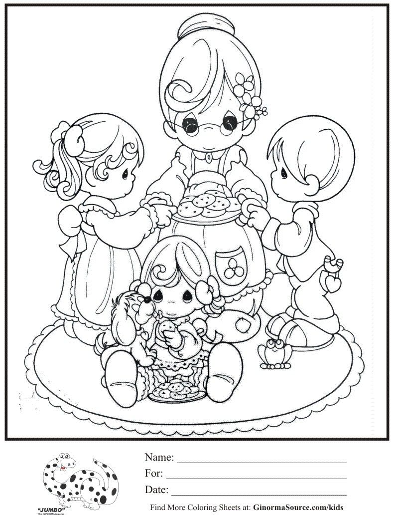 Printable coloring pages precious moments - Kids Coloring Page Grandma Cookies Precious Moments Coloring