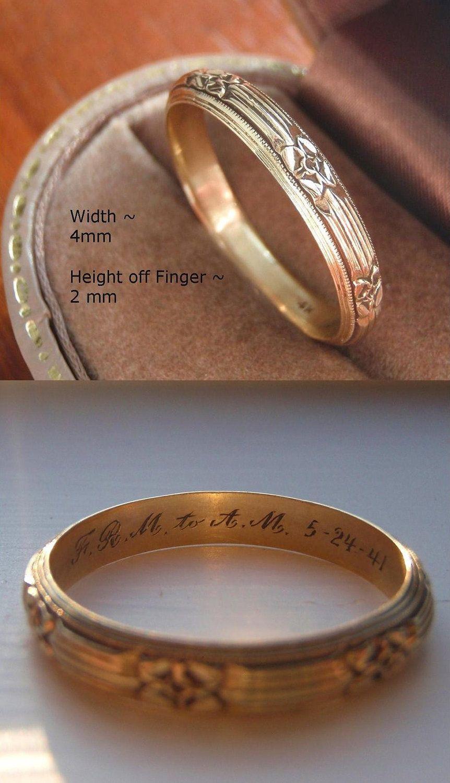 Vintage Solid 14k Gold Men S Wedding Band Engraved 1941 Etsy Mens Wedding Rings Mens Gold Wedding Band Mens Wedding Bands