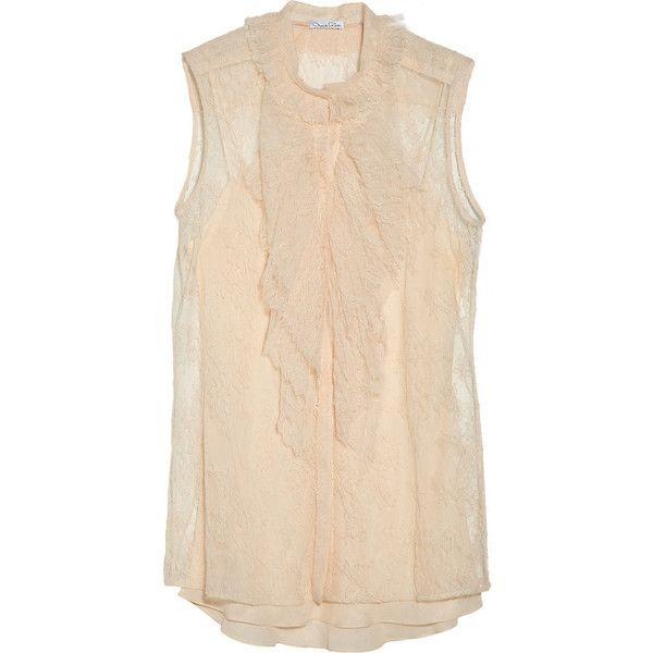 Oscar de la Renta Ruffled Chantilly lace blouse ($1,750) ❤ liked on Polyvore
