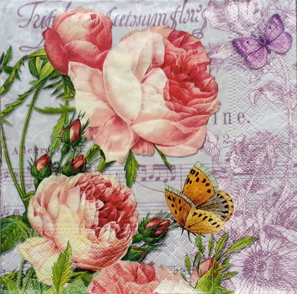 4 x single PAPER NAPKINS  spring flowers  DECOUPAGE AND CRAFTING-6