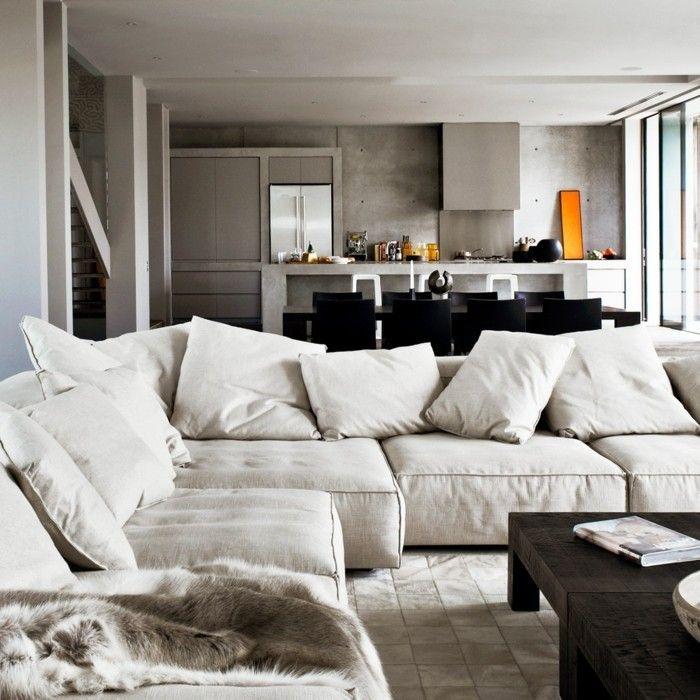 wohneinrichtung ideen betonwände wohnzimmer helle möbel Pinterest