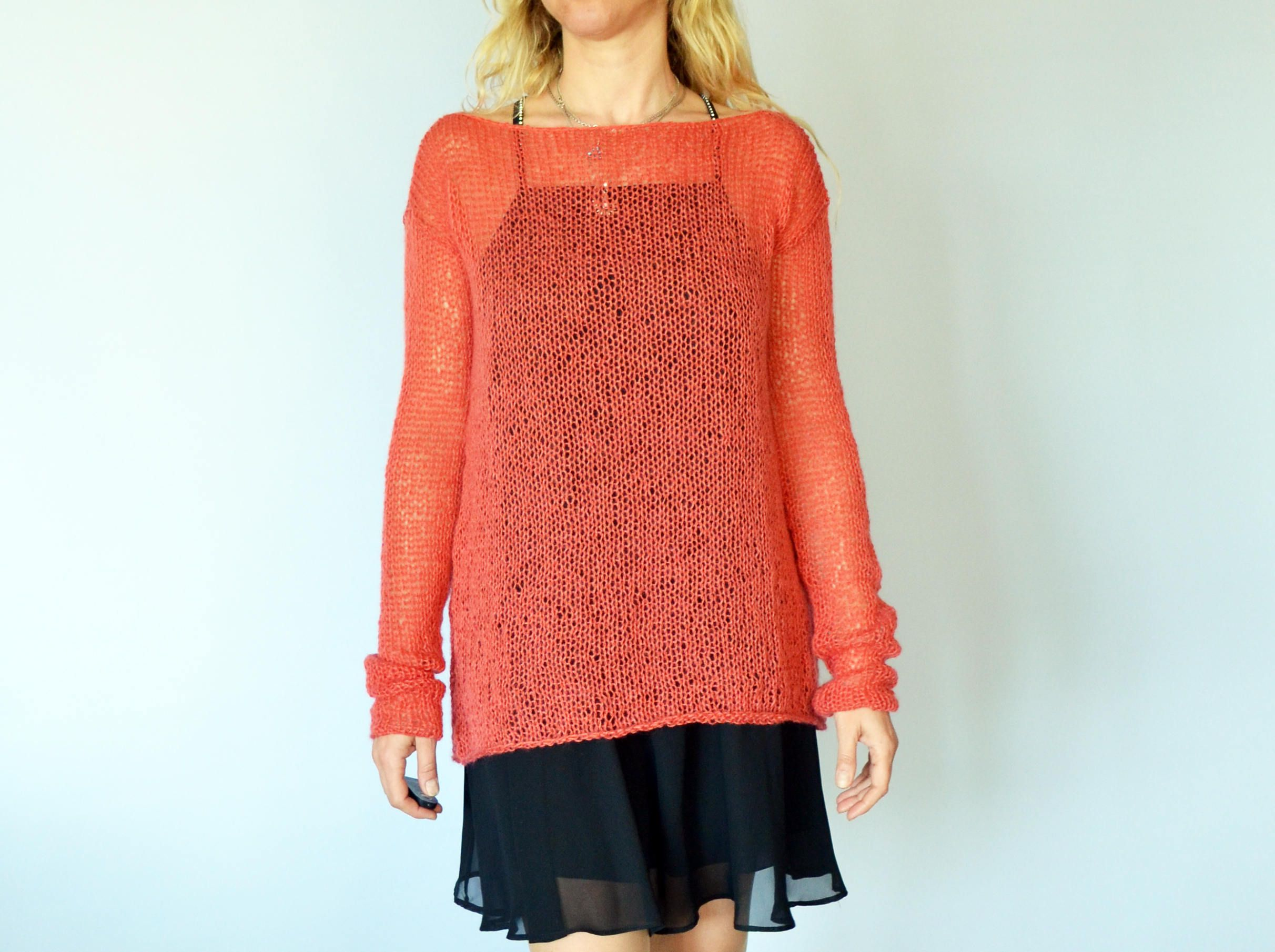 e42287df68d Coral Red Boat Neck Mohair Sweater Sheer Blouse Knit Tunic by MyAqua ...
