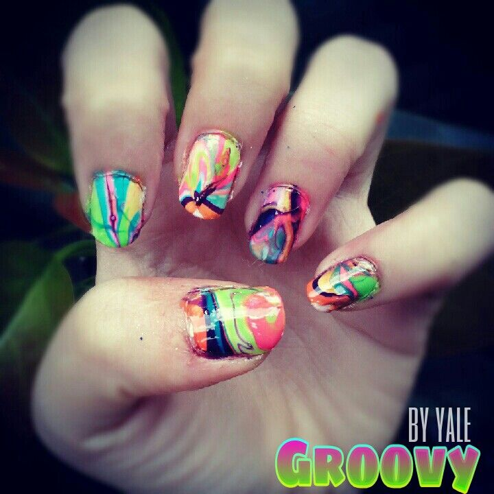 Groovy marble nail art   Nail art by me   Pinterest   Marble nail ...