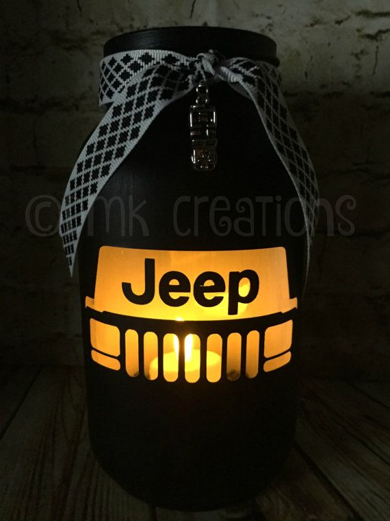 XJ Jeep Grill Painted Mason Jar Tea Light Candle Holder  XJ