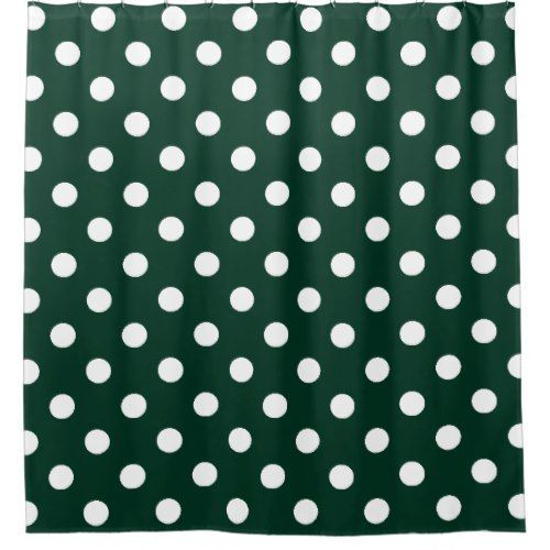 Large Polka Dots - White on Dark Green Shower Curtain   Green shower ...